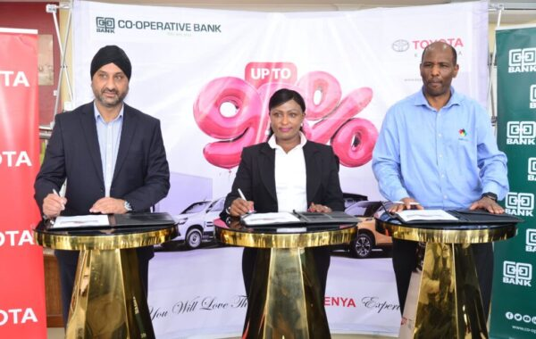 Toyota Kenya and Co-operative Bank signing a financing partnership to enable the bank's customers to purchase commercial and personal vehicles under Toyota Kenya's portfolio.