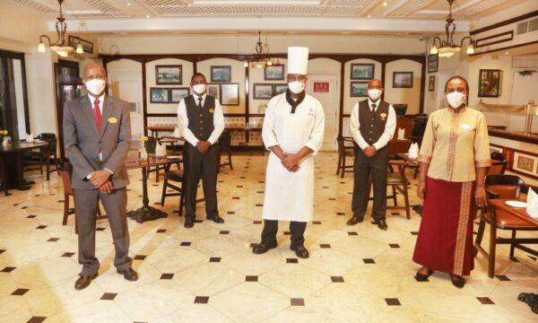 The re-opening of Sarova Hotels and Resort city restaurants, Thorn Tree and Flame Tree, to the public for indoor dining for the first time after the nationwide shut down of restaurants due to the COVID-19 outbreak in the country.